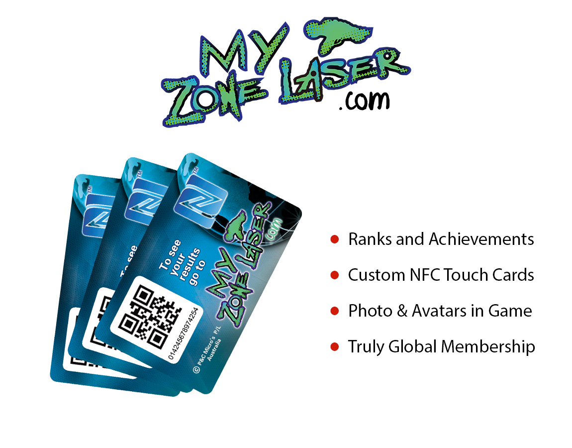Play Zone Laser Zone Membership - Ranks and Achivements, Custom NFC Touch Cards, Photo & Avatars in Game, Truly Global Membership, Laser Tag Manufacturer, Laser Tag System, Laser Tag Equipment