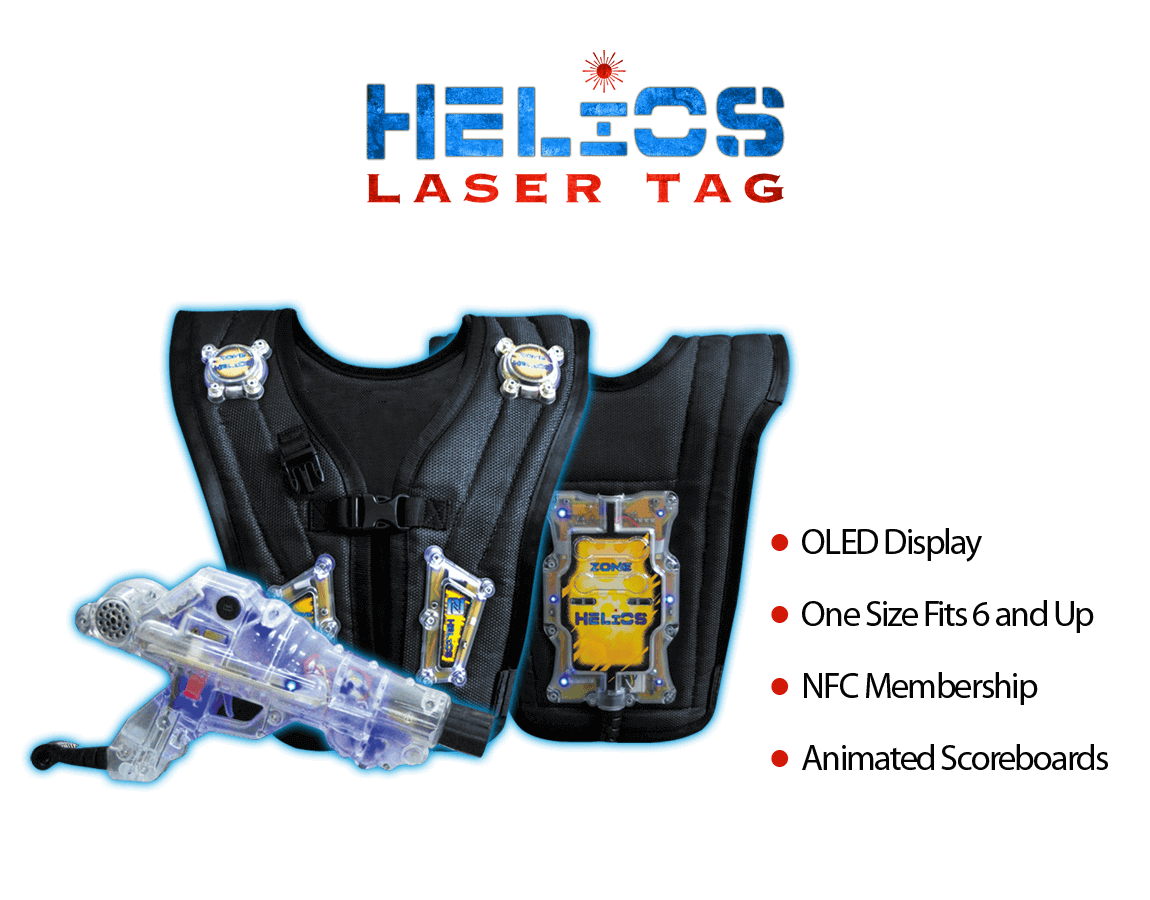 Laser Tag Equipment Helios CE Top Image - OLED Display, One Size Fits 6 and Up, NFC Membership, Animated Scoreboards - zone laser tag products, laser tag software, laser tag system, laser tag equipment, laser tag wholesaler, laser tag manufacturing, zone laser tag, laser tag
